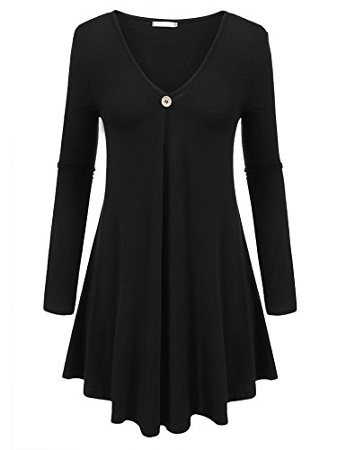 Beyove Women's Casual long sleeve V neck Midi A Line Pleated Button Tunic shirt ()