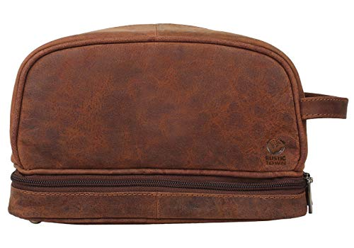 Genuine Leather Travel Cosmetic Bag - Hygiene Organizer Dopp Kit By Rustic Town (Best Grooming Kit For Mens India)