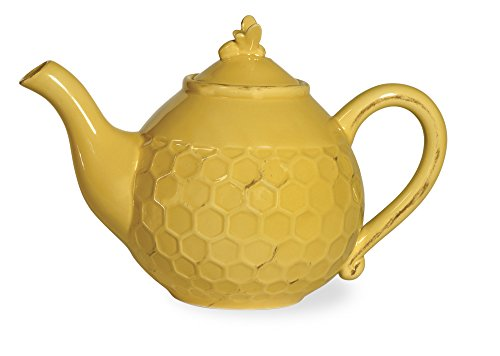 Boston International Honeycomb Ceramic Teapot, Honey