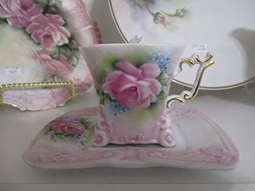 Porcelain cup & saucer, hand painted with rose/mauve tea roses, unique shape