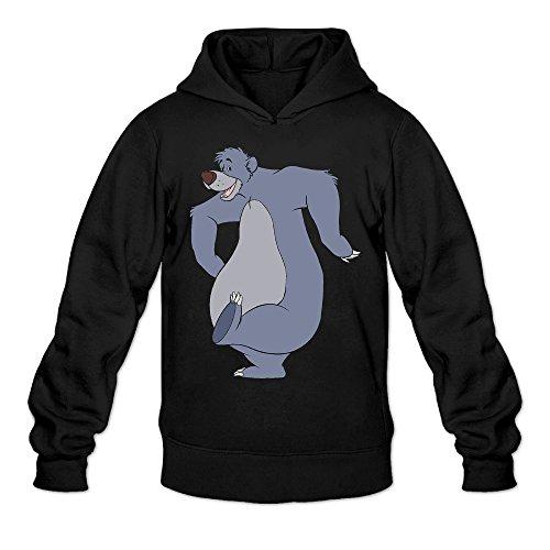 [AK79 Men's Hooded Sweatshirt The Jungle Book Bear Baloo Size M Black] (The Jungle Book Baloo Costume)