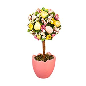 Cypress Home Potted Easter Egg Artificial Topiaries, Set of 2 1