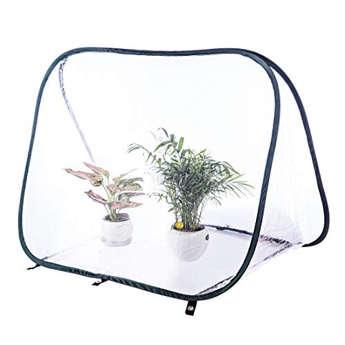 HMANE Insect Butterfly Habitat Cage Terrarium Pop-up Plant Seeding Growth Incubator Triangle Transparent Large 35.43x20.47x24.41 Inch