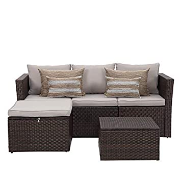 Patio Furniture 5 PCS Outdoor Sectional Furniture Set P.E Rattan Conversation Sets with Matching Waterproof Patio Cushions and Coffee Table Necessary Tools 5 Set-Brown-Taupe