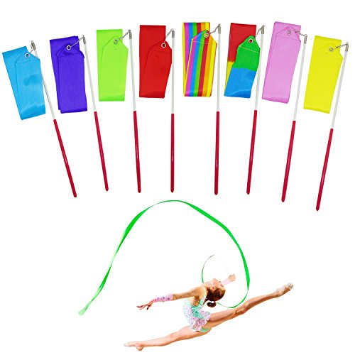 Gymnastic Rhythmic Costumes (Grosun 8Pcs Rhythmic Gymnastic Ribbons Dance Ribbon Dance Streamers with Baton Twirling)