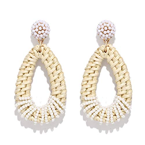 VUJANTIRE Rattan Dangle Earrings for Women Straw Wicker Earrings Statement Geometric Hoop Earrings Beaded Wire Wrapped Drop Earrings (Teardrop)