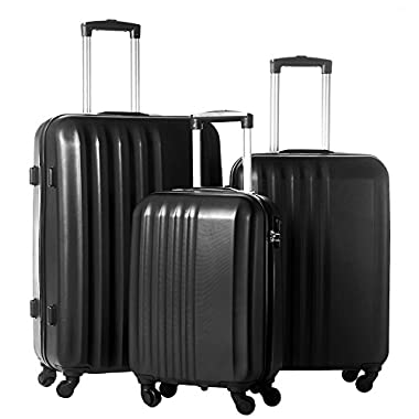 Merax MT Imagine Luggage 3 Piece Spinner Set Black