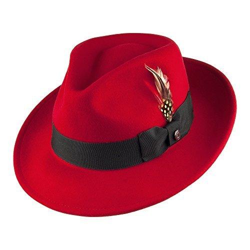 Jaxon Hats Pachuco C-Crown Crushable Fedora Hat (Medium, Red)