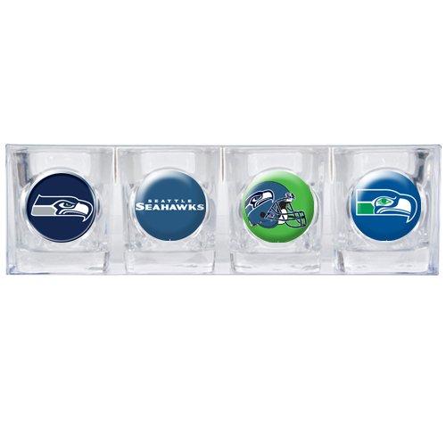NFL Seattle Seahawks Four Piece Square Shot Glass Set (Individual Logos)
