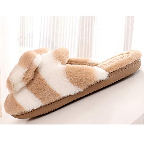 Para Mujer 1 white Estar De Bow Belloo khaki Lana Casa Zapatillas Por c8q6vvWgB
