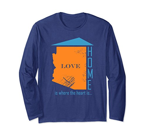 Unisex Distressed state home shirt. Arizona long sleeve tshirt gift Large Navy