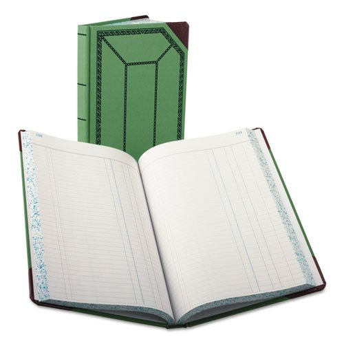 Boorum amp;amp; Peaseamp;reg; Record//Account Book 12 1//2 x 7 5//8 Journal Rule Green//Red 300 Pgs