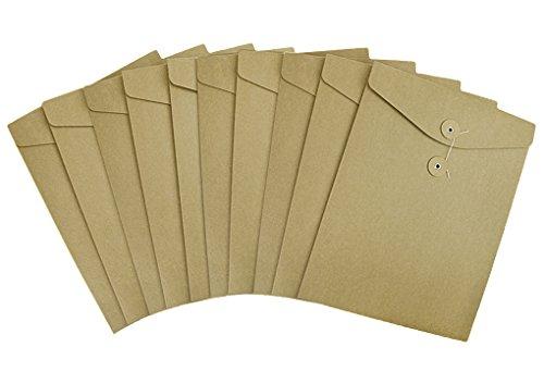Pack 10 A4 Kraft File Bag Brown Paper Document Portfolio Pocket Organizer Folder Envelope with String & Button Closure