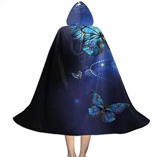 Masked Magician Halloween Costume (Kids Costume Cape Cloak with Hood Dark Blue Butterflies Monarch Butterfly Unisex Hooded Cloaks Capes for Halloween Christmas Party Cosplay Costumes Boys Girls)