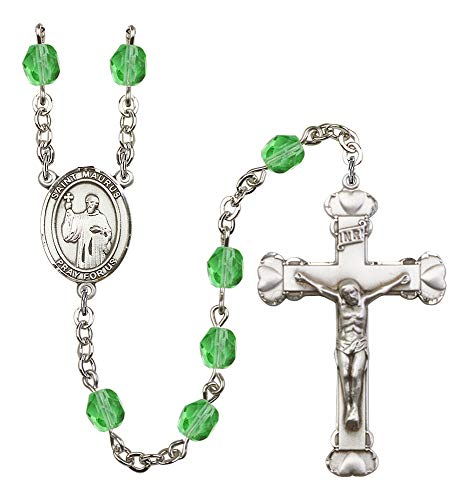 Silver Plate Rosary features 6mm Peridot Fire Polished beads. The Crucifix measures 1 5/8 x 1. The centerpiece features a St. Maurus medal. Patron Saint Cobblers/Cold