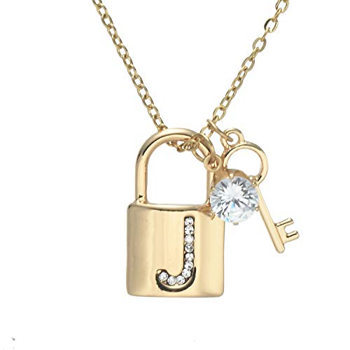 (Onnea fashion Gold Plated Letter Pendant Necklace A-Z Initial Necklace with Rhinestone Lock and Key Gift for Women Girls (Initial J))