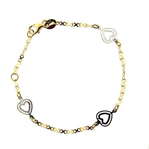 18K Two Tone Hearts bracelet 5.75 inches 6.25 inch by Amalia