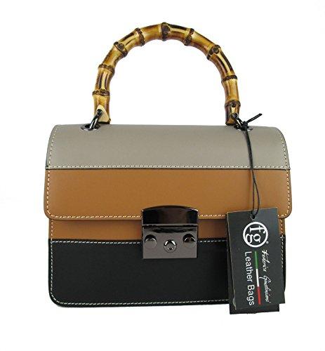 vera Made pelle mini borsa FG manico Italy in tre colori bamboo wnPqf5aC