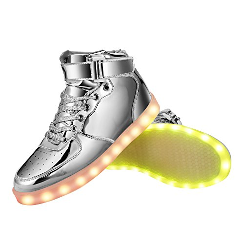 Greatjoy Cool Fun Light Up Led Sneaker Sneaker 7 Colori Usb Ricarica Argento