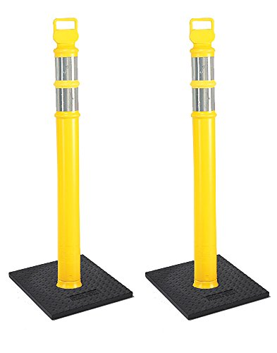 "Cortina EZ Grab Delineator 45"" Post, 3"" Hip Collars with 10 lb Base, 03-747YRBC-2, Yellow, 2 Pack"