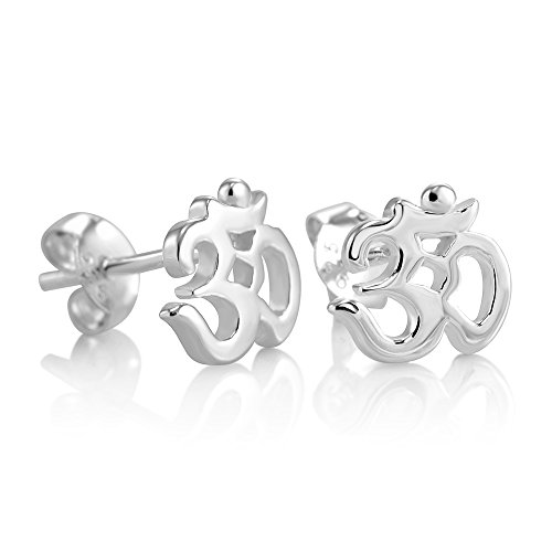 925 Sterling Silver Tiny Om Ohm Aum India Symbol Stud Earrings