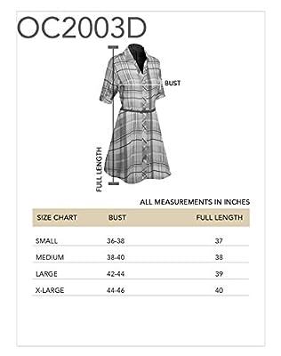 Women's Roll Up Sleeve Plaid Tunic Top Shirt Dress with Belt