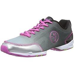 Zumba Women's Flex Classic-W Dance Shoe, Black/Silver, 11 M US