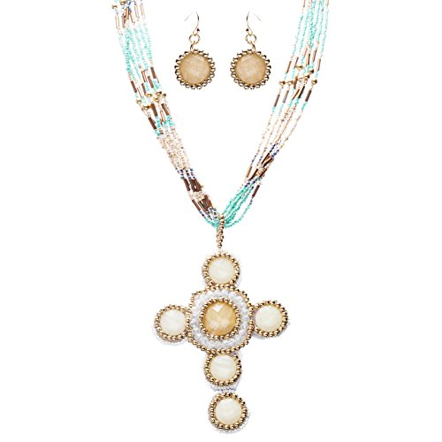 Cross Jewelry Traditional Design Beaded Necklace & Earrings Set JN245 Beige by Accessoriesforever