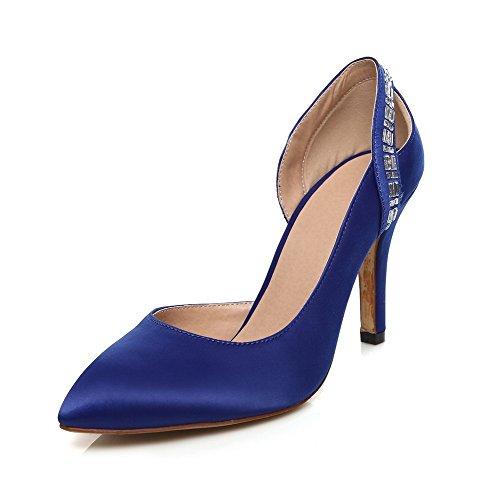 Femme Talon Bleu Souple Chaussures À Haut Matière Tire Agoolar Mosaïque Pointu Légeres tU7qUw