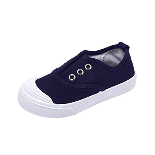 Moonker Baby Shoes,Kids Boy Girl Solid Cute Sneaker Toddler First Walkers Rubber Sole Non-Slip Canvas Shoes 6M-8T (1-1.5 Years Old, Navy) by Moonker