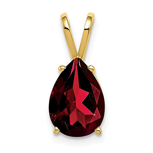 (14K Yellow Gold 10x7mm Pear Garnet pendant from Roy Rose)