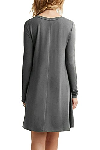 Donna Vestito Rotondo Line Manica Beach A Minetom shirt A Mini Grigio Dress Sciolto Collo Casuale Vestiti Tunica Stile T Abitos Lunga fdZwvwg5qp