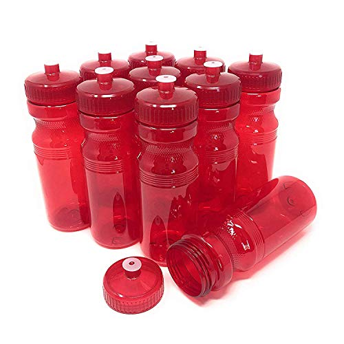(CSBD Blank 24 oz Sports and Fitness Water Bottles, BPA Free, PET Plastic, Made in USA, Bulk (Red, 10)