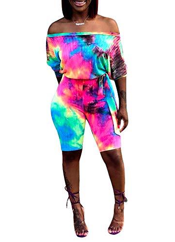 Ophestin Women Off Shoulder 3/4 Sleeve Rainbow Tie Dye Print Belt Bodycon Capri Short Pants Jumpsuits Rompers Multi XXL