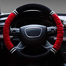 Short Plush Stitching Warm Car Steering Wheel Cover Diameter 36-40Cm / 14.2-15.7 Inch Winter Wear-Resistant Durable Cars Handlebar Covers