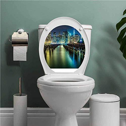SCOCICI1588 New York ToiletLidCoverSticker Pier Pilings and Manhattan Skyline at Night Downtown Urban East River Waterproof Wall Decals Dark Blue Green Yellow W8XL11 INCH