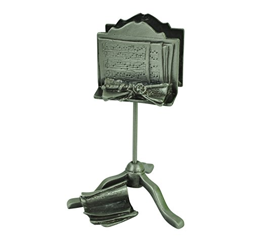 Music Stand with Musical Notes Cast Metal Finish Business Card Holder