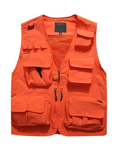 Jenkoon Men's Work Multi-Pockets Lightweight Outdoor Travel Fishing Vest (Orange-5, -