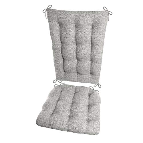 Barnett Products Brisbane Silver Grey Rocking Chair Cushion Set - Extra-Large - Latex Foam Filled Seat Pad & Back Rest - Reversible - Machine Washable (Gray/Pewter)