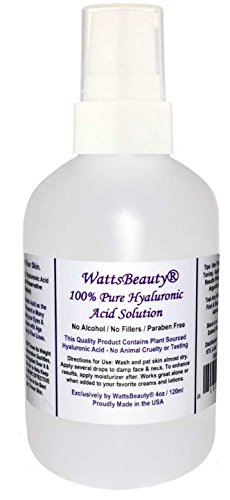 Anti Aging Wrinkle Filler of 100% Pure Hyaluronic Acid for Face - No Alcohol, No Parabens, Vegan & USA - HA Is Not a Harsh Acid, HA is Present in Every Area of Our Body and Simply Decreases with Age Causing Sagging, Wrinkles, Dry Skin & Fine Lines -  Watts Beauty, WBHAPlain4oz