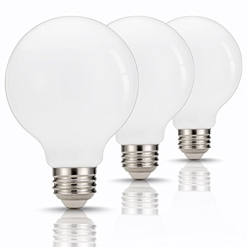 - TGMOLD G25 Globe LED Bulb 60W Equivalent, 9W, Base E26/E27, Daylight 4000K Vanity Light Bulb for Makeup, Living Room, (800LM) Non Dimmable Decorative Light, Pack of 3