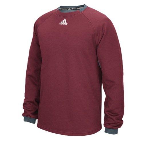 adidas Mens Fielder's Choice Long Sleeve Fleece, Collegiate Burgundy/Onix Grey, X-Small