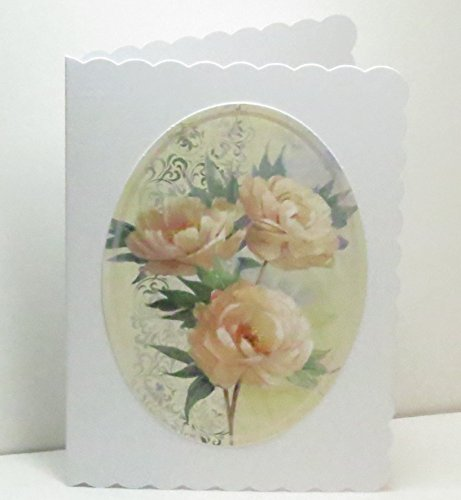 Handmade Peach Roses Trio in Oval Blank Greeting Card with Scalloped Edges & Peach Pearl Border ()