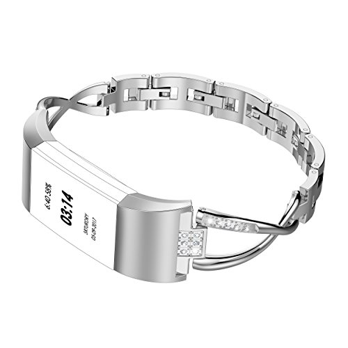 Wearlizer Replacement for Fitbit Charge 2 Bands for Women Metal Bangle/Bracelet/Assesories/Straps/Wrist Band for Fitbit Charge hr 2 Women Small Large Polished-Silver ()