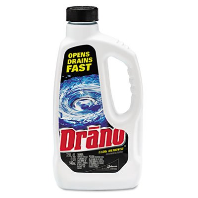 Dranoamp;reg; - Liquid Drain Cleaner, 32 oz Safety Cap Bottle, 12/Carton - Sold As 1 Carton - Dissolves clogs quickly and effectively in kitchen or bathroom.