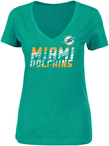 NFL Miami Dolphins Women's Smash Victory Short Sleeve V-Neck Tee, Small, New Aqua