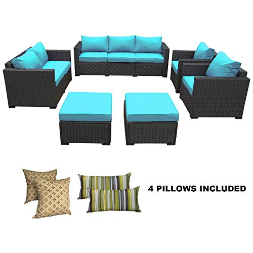 Rattaner Patio Wicker Sofa Set-6 Piece Outdoor PE Rattan Garden Sectional Conversation Cushioned Seat Couch Furniture Set-Turquoise Cushions
