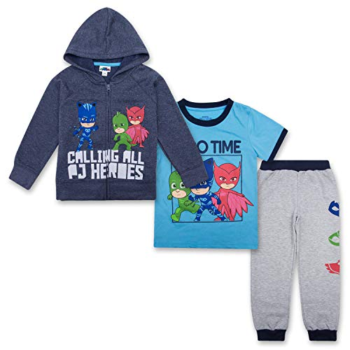 (PJ Masks Toddler Boys Set - Catboy, Gekko & Owlette, Owlette Hoodie, T-Shirt & Sweatpants Set (Navy/Grey/Blue, 5T))