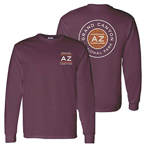 (Grand Canyon National Park Resort Circle Stamp - Arizona Vacation Long Sleeve T Shirt - X-Large - Maroon)