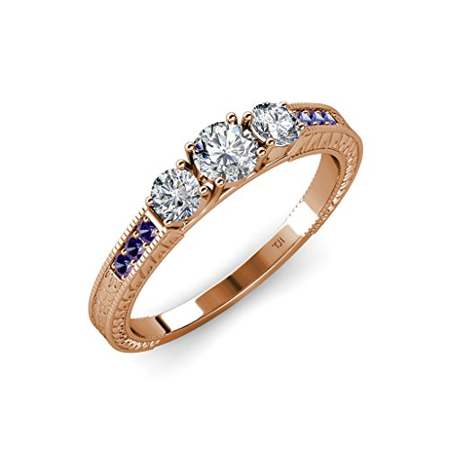 Diamond Milgrain Work Three Stone Ring with Iolite on Side Bar 0.85 ct tw in 14K Rose Gold.size 8.5